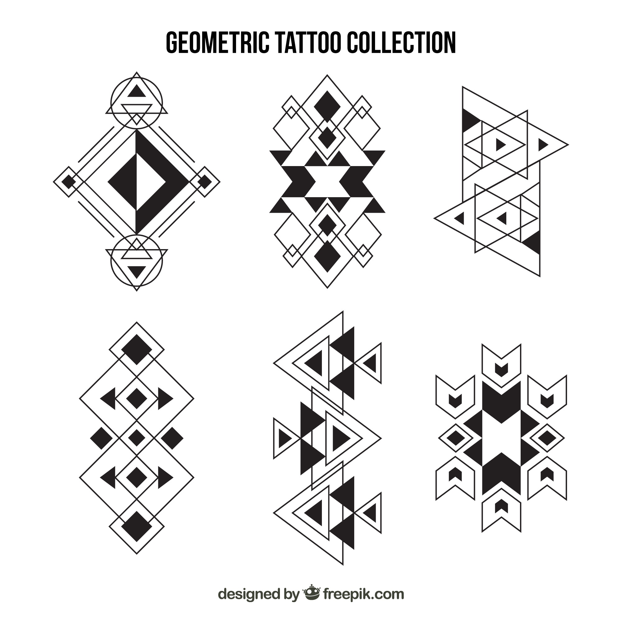 Collection of ethnic geometric tattoos