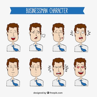 Collection of expressive businessman character