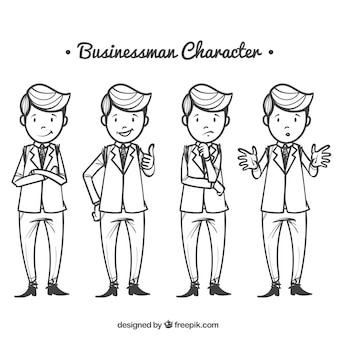 Collection of expressive businessman characters