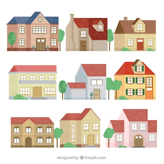 Collection of facades of beautiful houses in flat design