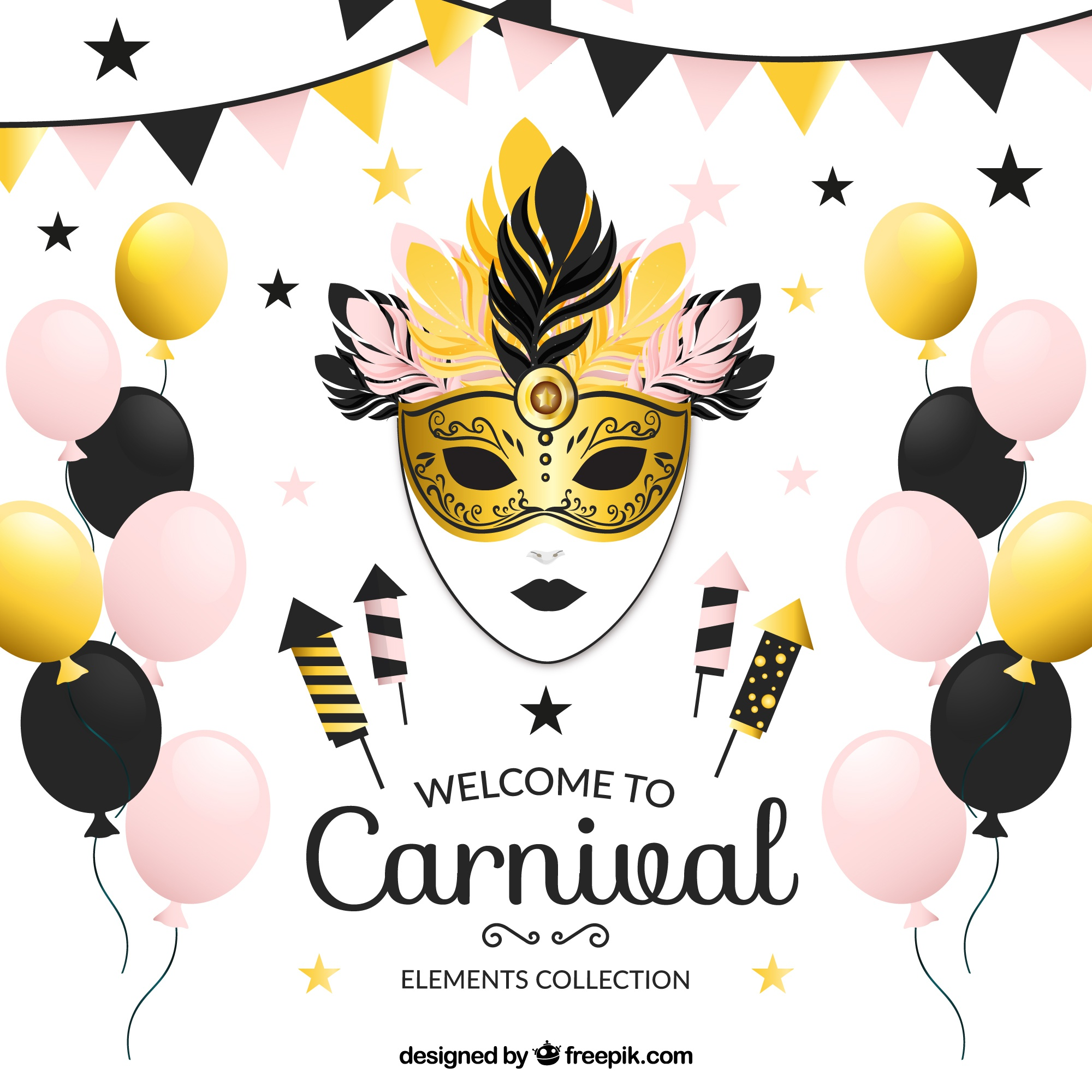 Collection of fantastic elements for carnival
