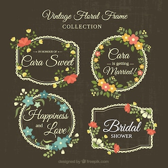 Collection of fantastic floral wedding frames in retro style