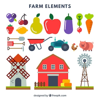 Collection of farm element and fruit