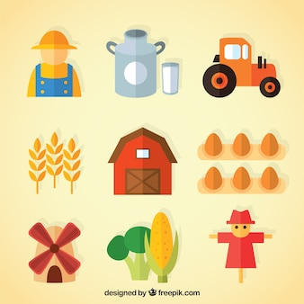 Collection of farmer and useful farm objects in flat design