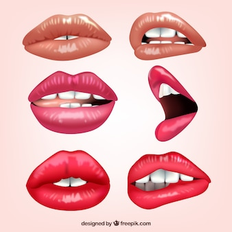 Collection of female lips with different expressions