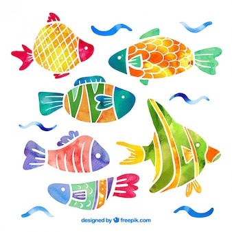 Collection of fish in watercolor effect