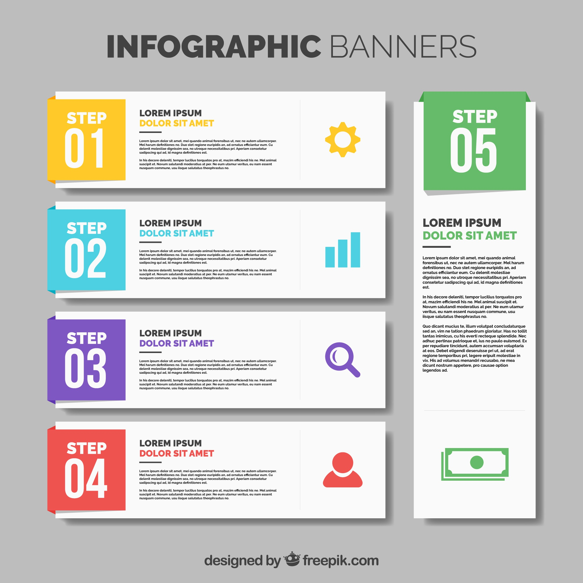 Collection of five infographic banners with color details