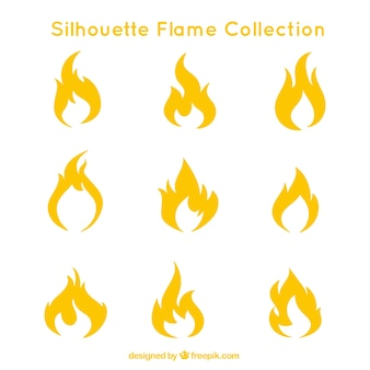 Collection of flame silhouettes