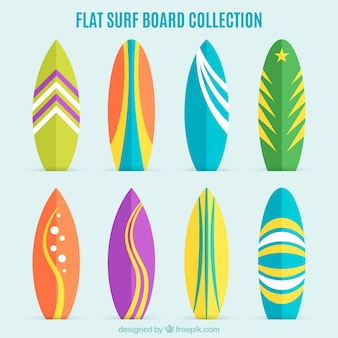 Collection of flat and colorful surfboard