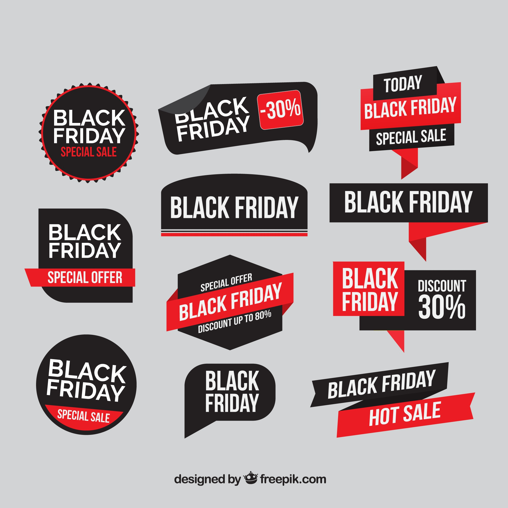 Collection of flat black friday stickers