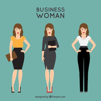 Collection of flat businesswoman character with expressive gestures