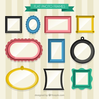Collection of flat colors vintage photo frames