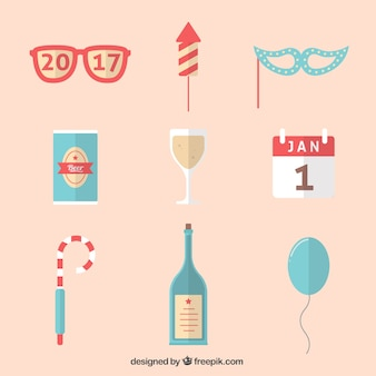 Collection of flat elements for new year