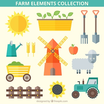 Collection of flat essential farm things