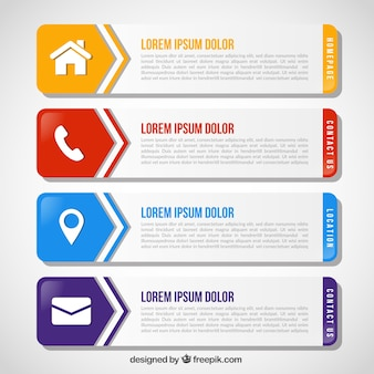 Collection of flat infographic banners with color details