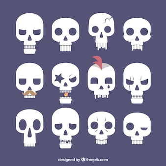 Collection of flat skulls with funny expressions