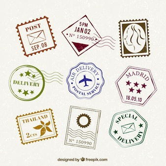 Collection of flat stamp in vintage design