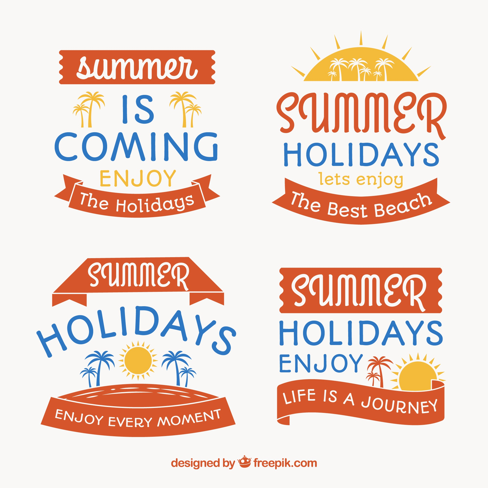 Collection of flat summer labels with blue details