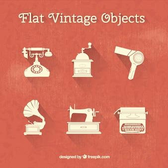Collection of flat vintage objects