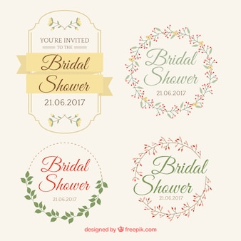 Collection of floral bridal shower frames with great designs