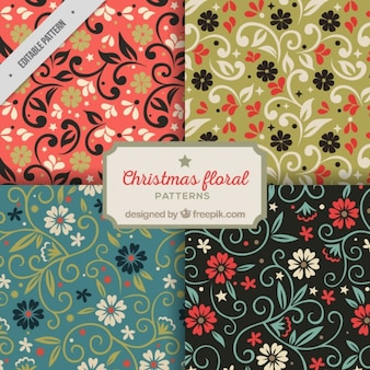 Collection of floral christmas patterns with different colors