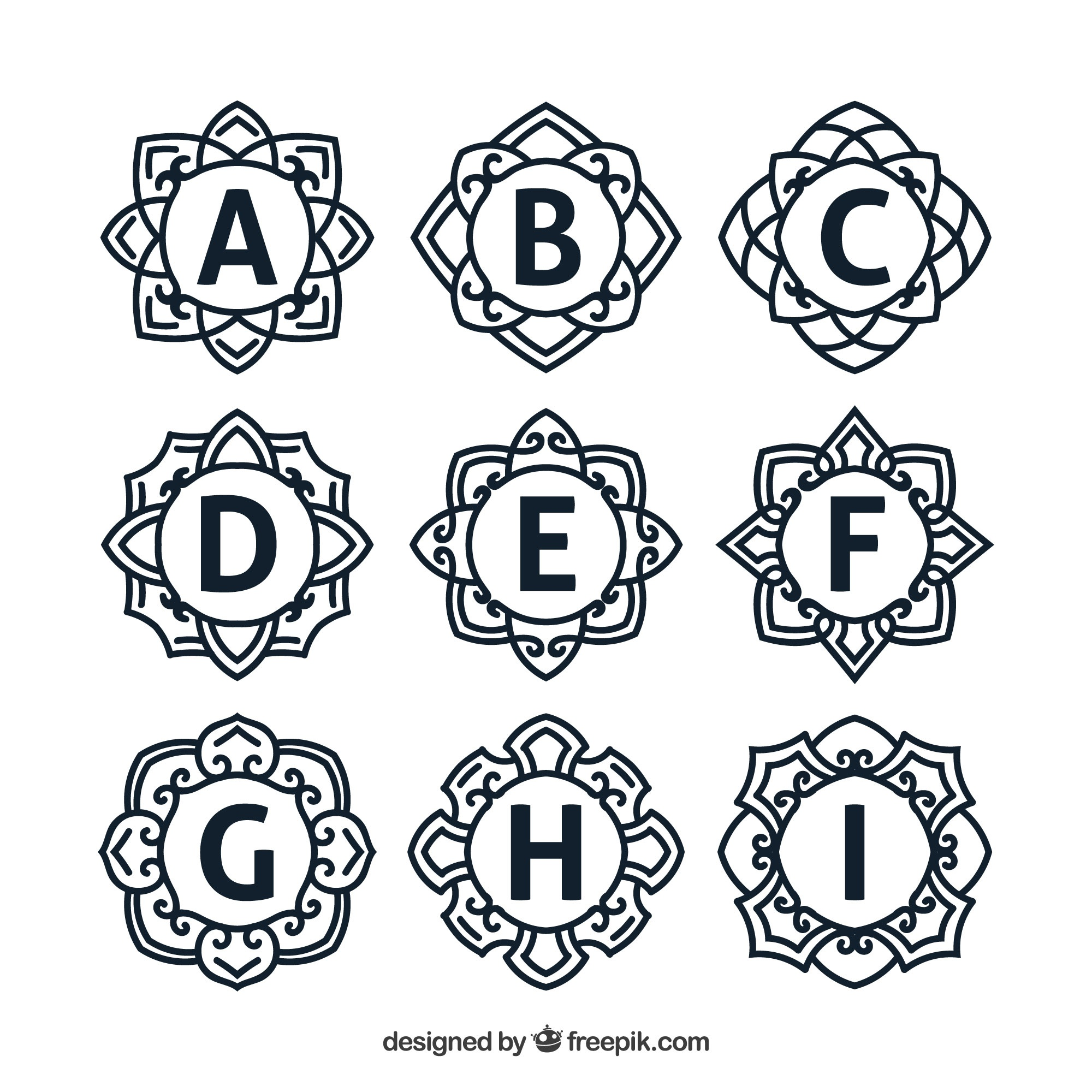 Collection of floral monograms