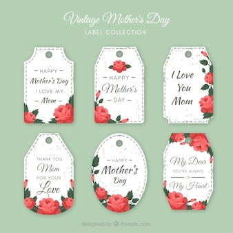 Collection of floral mother's day labels