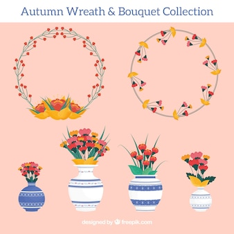 Collection of floral wreath and vases