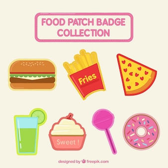 Collection of food and sweets badges