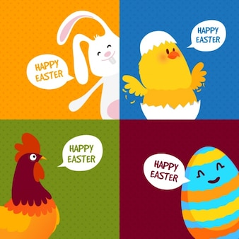 Collection of four colorful easter cards