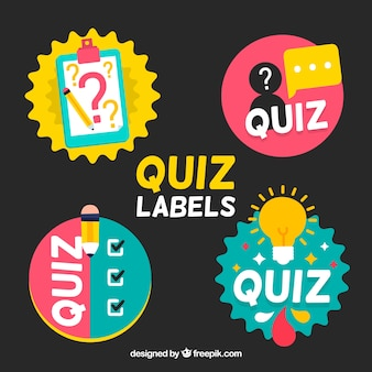 Collection of four colorful quiz labels