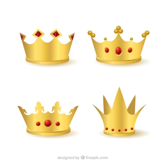 Collection of four gold crown with red gems