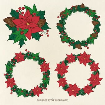 Collection of four hand-drawn wreaths for christmas