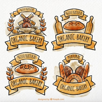 Collection of four organic bakery labels in watercolor style
