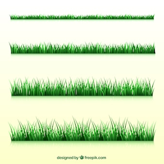 Collection of four realistic grass borders