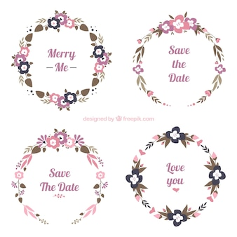 Collection of four round floral wedding frames
