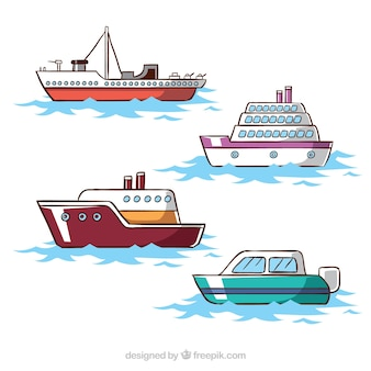 Collection of four ships in flat design