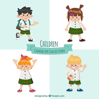 Collection of four student characters
