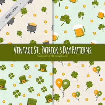 Collection of four vintage patterns ready for st patrick's day