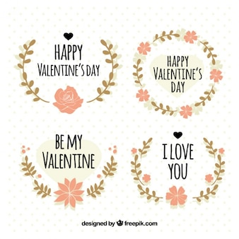 Collection of four wreaths with pink flowers for valentine's day
