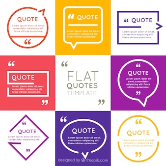 Collection of frame for quote in flat design