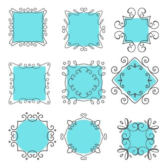 Collection of frames with blue background