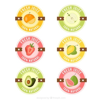 Collection of fresh juice stickers in pastel colors
