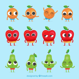 Collection of fruit characters with facial expressions
