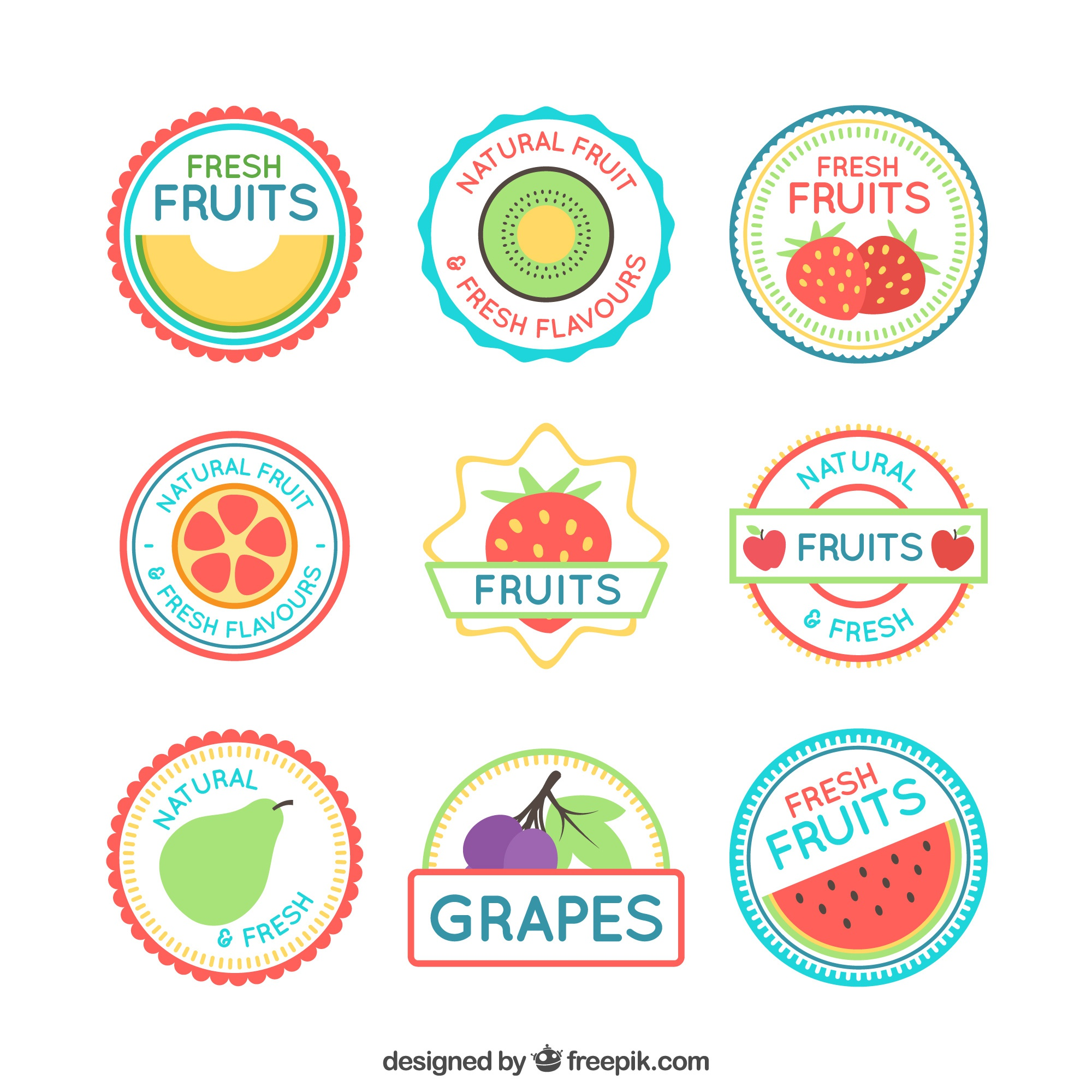 Collection of fruit labels in flat design