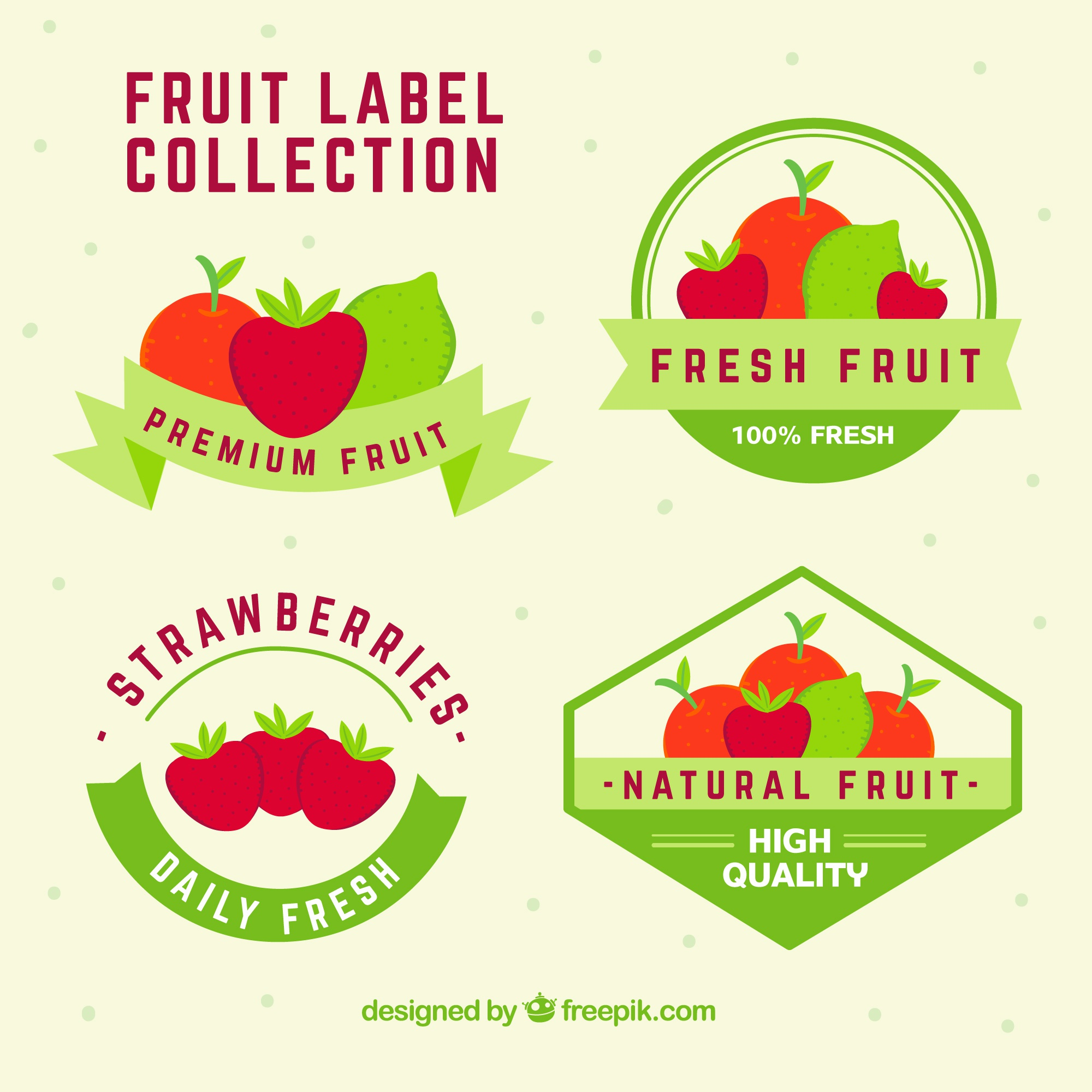Collection of fruit stickers with green ribbons