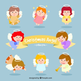 Collection of funny angels christmas characters