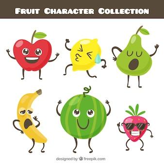 面白い果物のキャラクターのコレクション