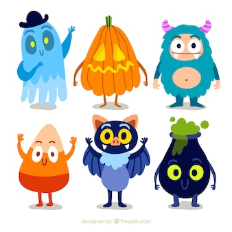 Collection of funny halloween character