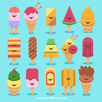 Collection of funny ice cream characters